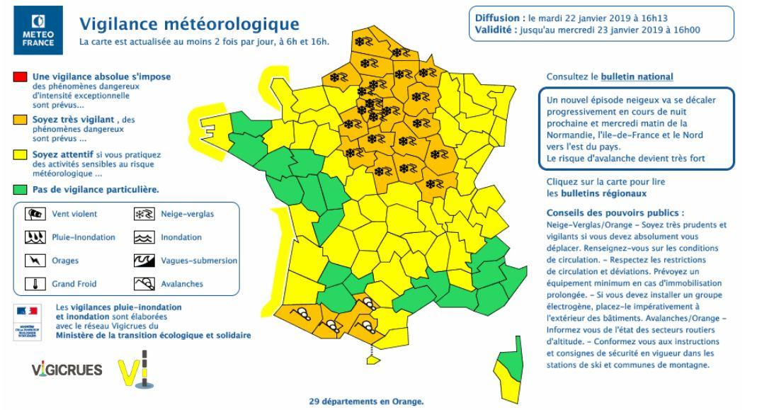 Departement En Alerte Orange : m t o neige 29 d partements en alerte orange ~ Medecine-chirurgie-esthetiques.com Avis de Voitures